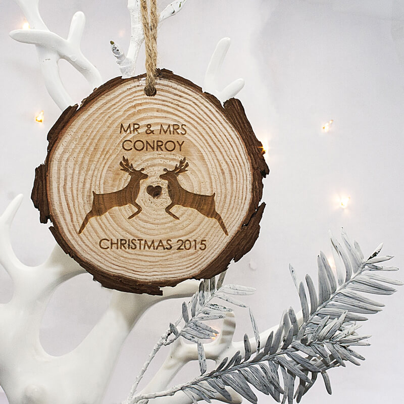 Personalised Couples Reindeer Hanging Decoration