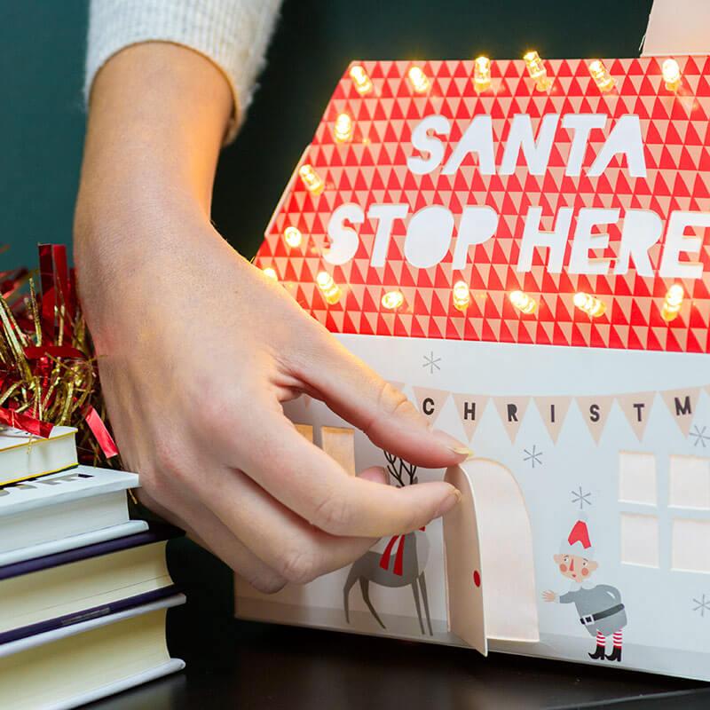 Santa Stop Here Light Up House