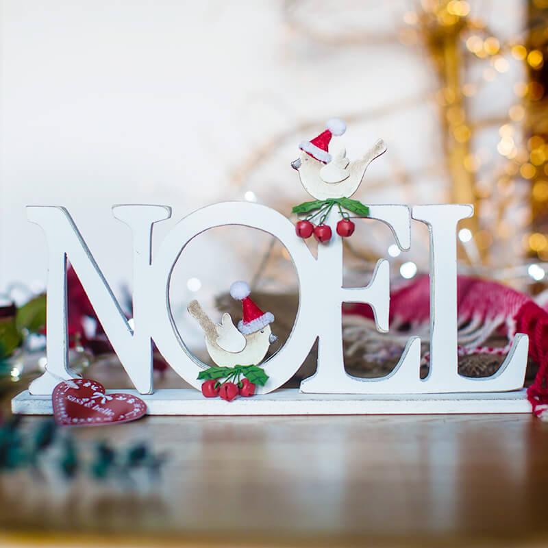 Standing Noel And Birds Decoration
