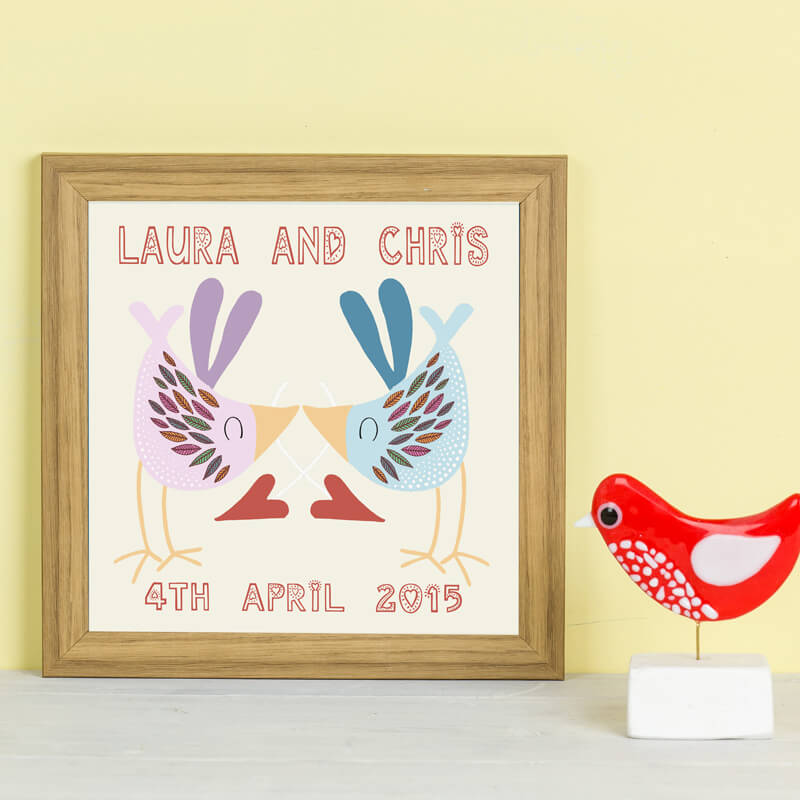 Personalised Love Bird Kiss Framed Print