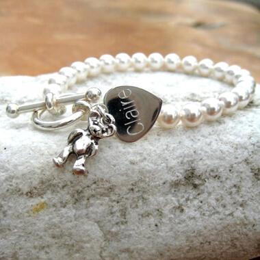 Personalised Teddy Pearl Bracelet