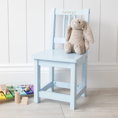 Personalised Blue Wooden Children's Chair
