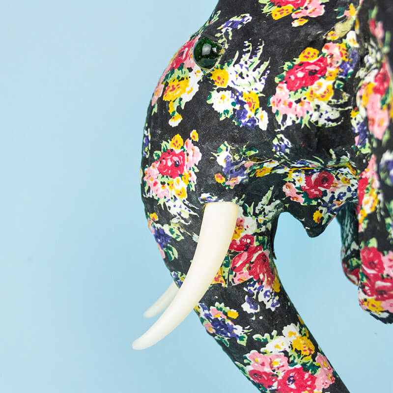 Floral Elephant Head Wall Mount