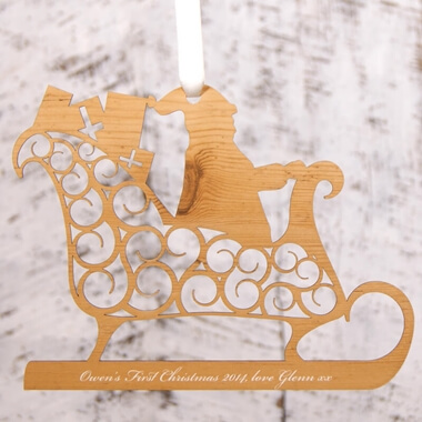 Personalised Santa's Sleigh Christmas Decoration