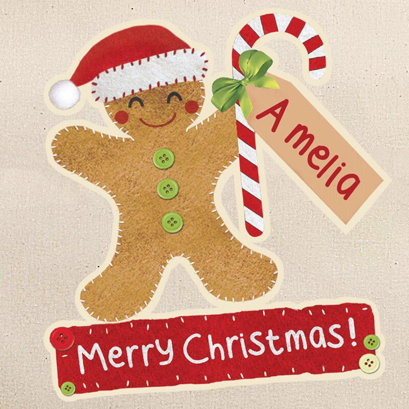 Personalised Gingerbread Man Cotton Sack