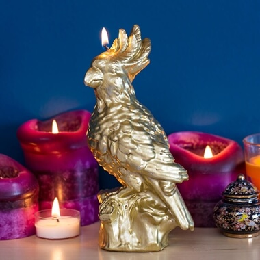 Gold Metallic Parrot Candle