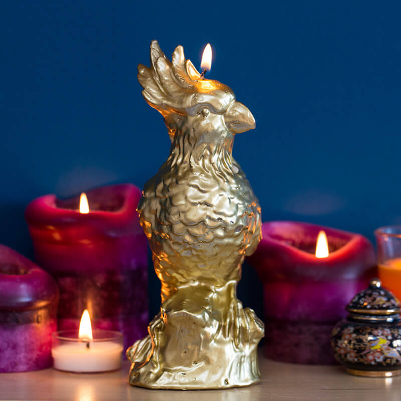 Gold Metallic Parrot Candle