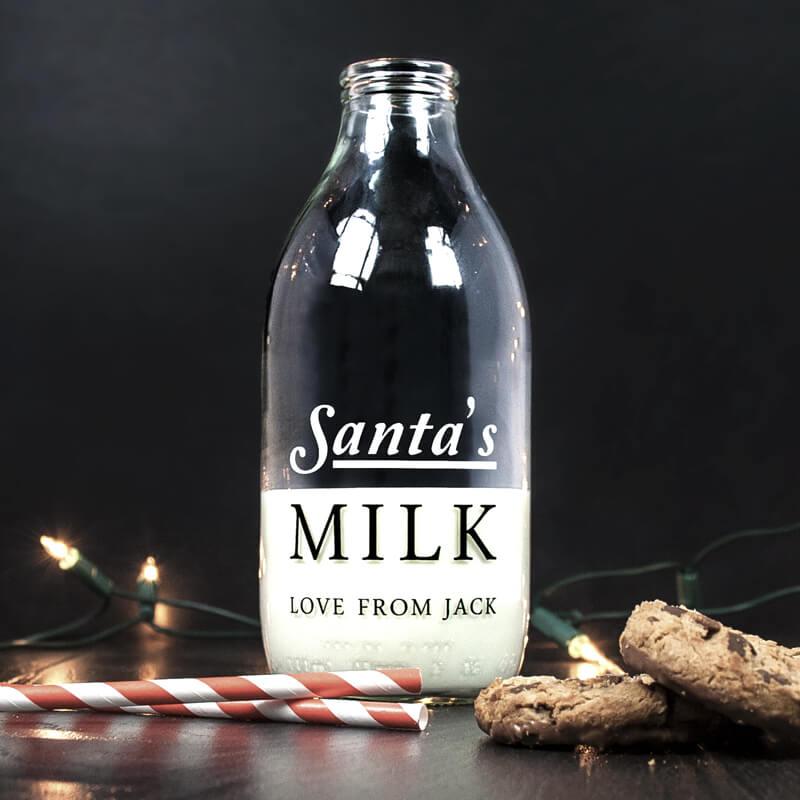 Personalised Santa's Glass Milk Bottle