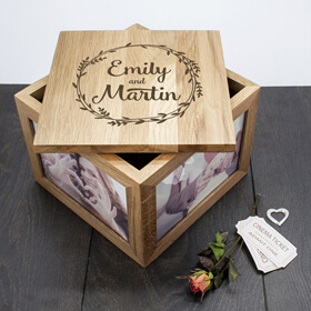 Personalised Couple's Oak Photo Keepsake Box