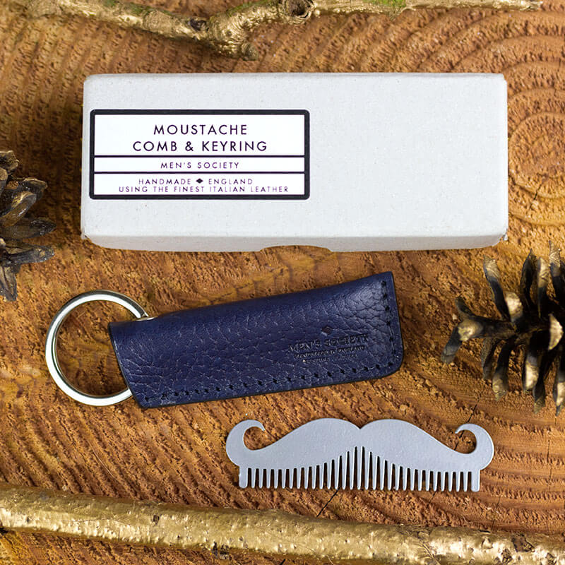 Leather Moustache Comb and Keyring