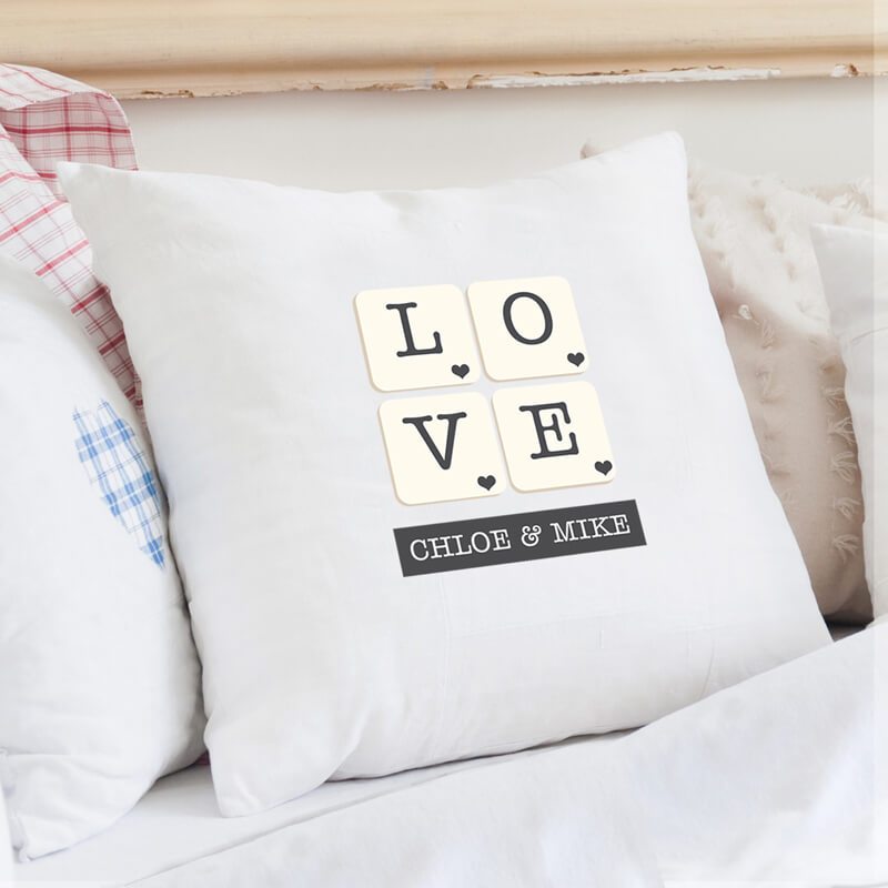 Personalised Love Tiles Cushion