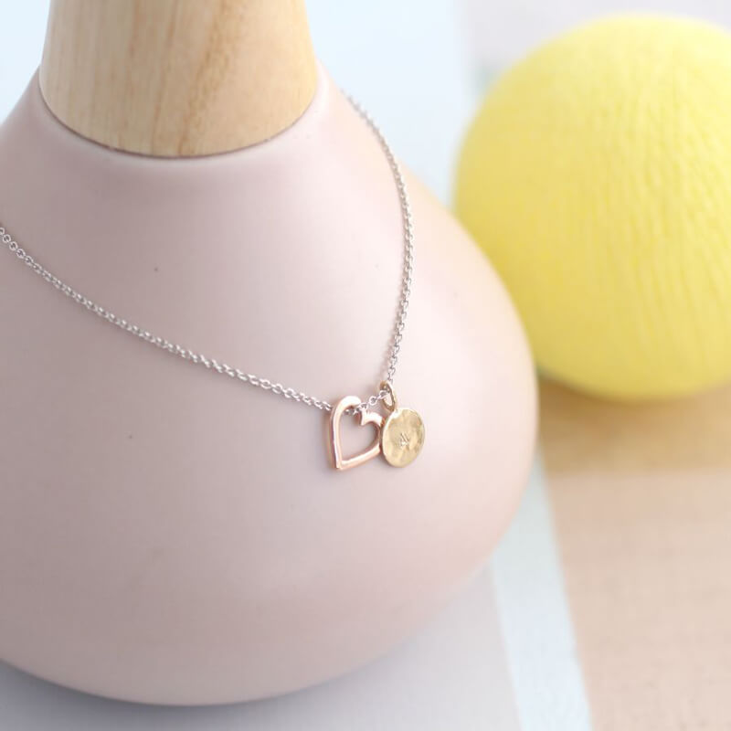 Personalised 9ct Gold Heart And Tag Necklace