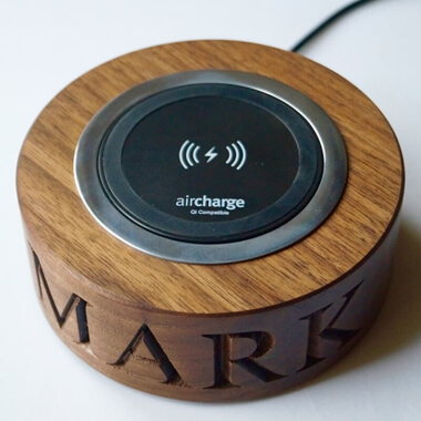 Personalised Walnut Wireless Phone Charger