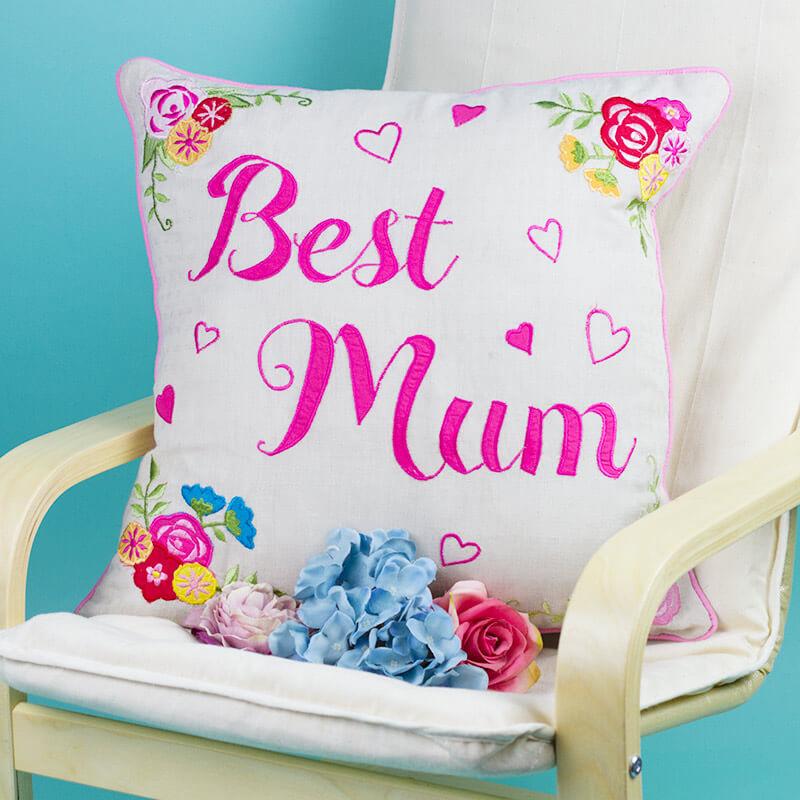 Best Mum Embroidered Cushion