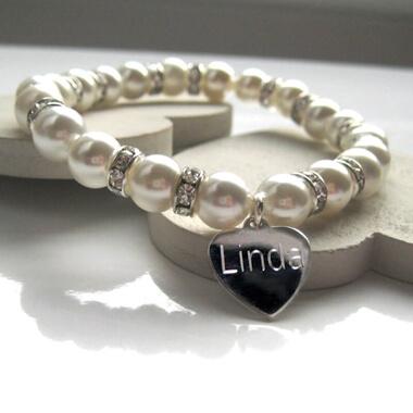Personalised Diamante Pearl Bracelet