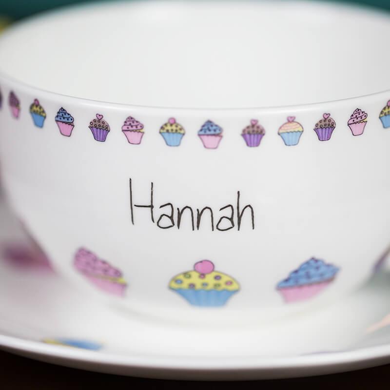 Personalised Cupcake Tea Cup & Saucer