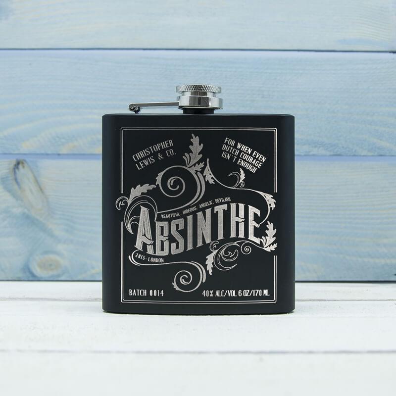Personalised Absinthe Vintage Hip Flask