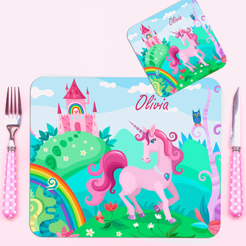 Personalised Kid's Unicorn Placemat and Coaster Set