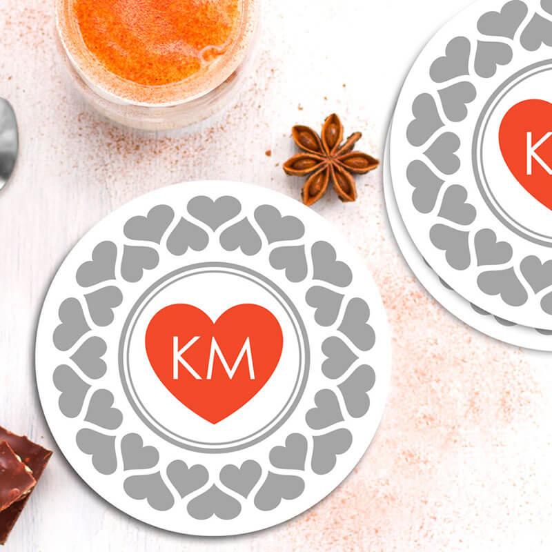 Personalised Round Coaster - Love Initials