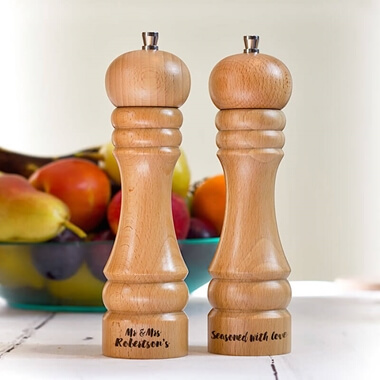 Personalised Wooden Salt and Pepper Mill - Seasoned With Love