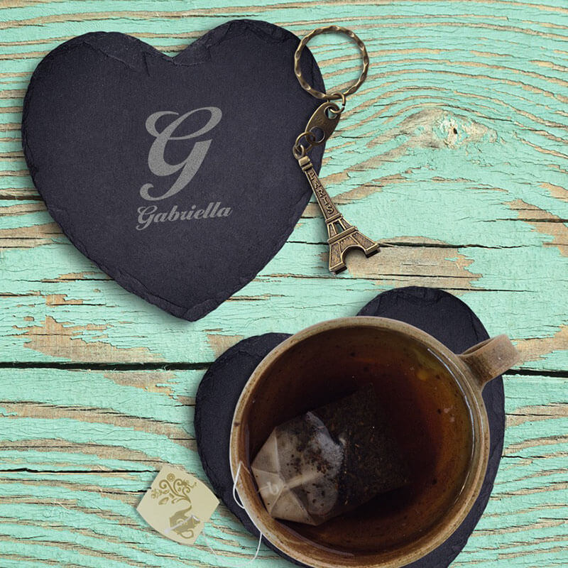 Personalised Initial and Name Heart Slate Coaster