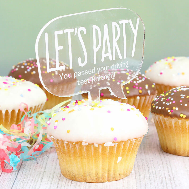 Personalised Let's Party Cake Topper