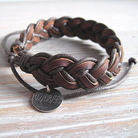 Personalised Plaited Leather Bracelet