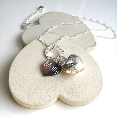 Personalised Chunky Silver Heart Necklace