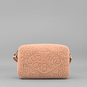 Leather Custard Cream Cross Body Bag