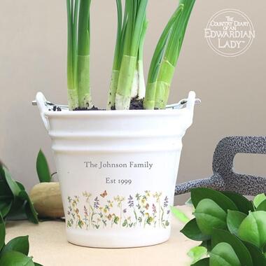 Personalised Wild Flowers Porcelain Bucket