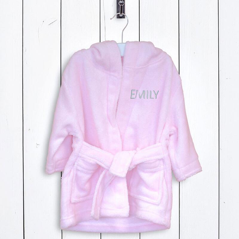 Personalised Children's Fleece Bathrobe - Pink