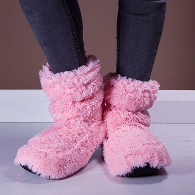 Cozy Microwaveable Boots - Pink