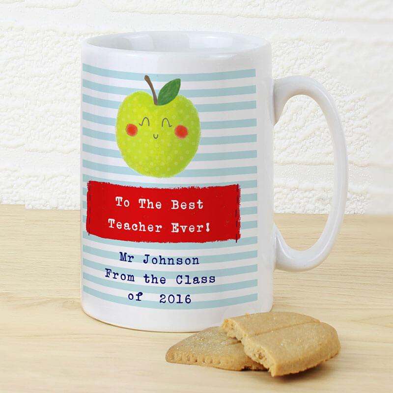 Personalised Happy Apple Teacher Mug