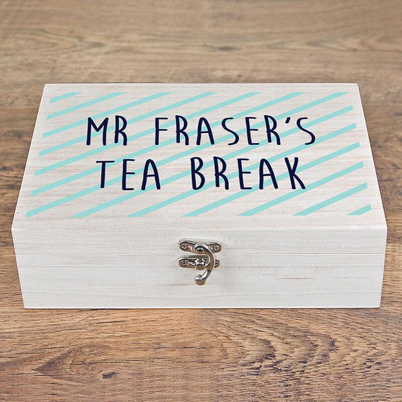 Personalised Teacher's Tea Break Box -  Stripes