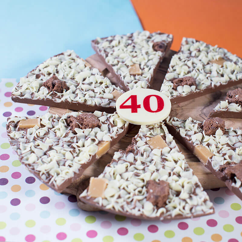 40th Birthday Chocolate Pizza - 10""