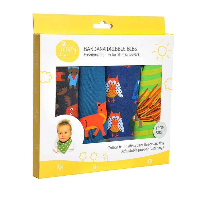 Baby Boy Dribble Bibs - 4 Pack