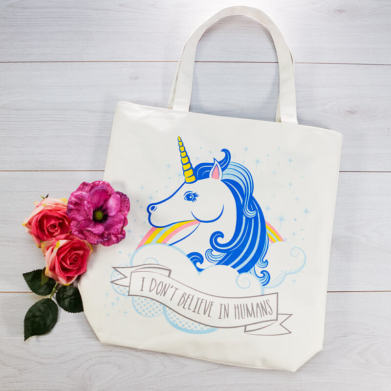I Don't Believe In Humans Unicorn Cotton Bag