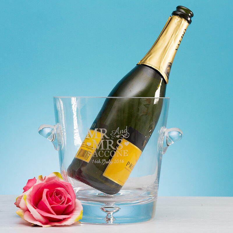 Personalised Glass Ice Bucket - Mr & Mrs