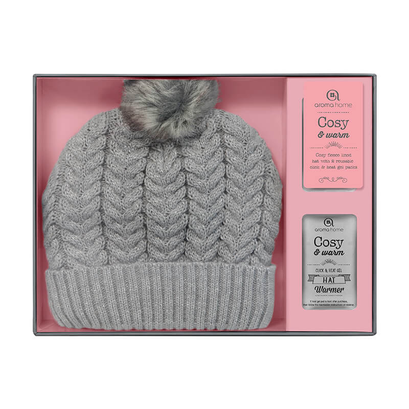 Cosy and Warm Knitted Hat With Click and Heat Gel Packs - Grey