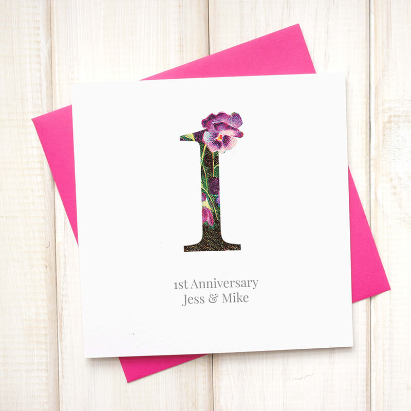 Personalised Floral Anniversary Card