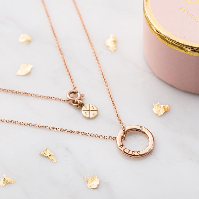 Personalised Diamond 9ct Mini Message Necklace