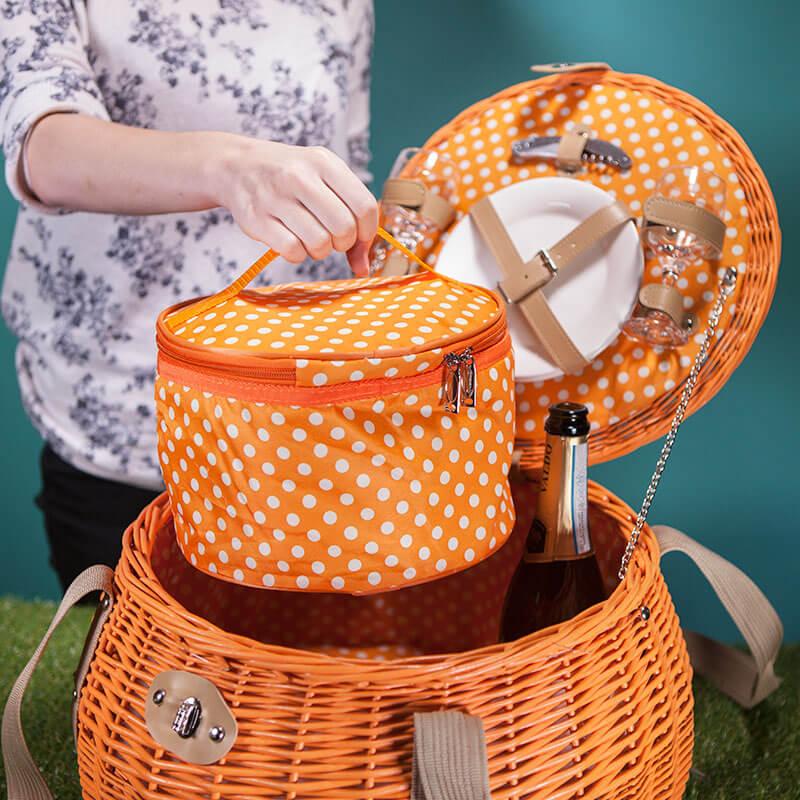 Pumpkin Two Person Willow Picnic Basket