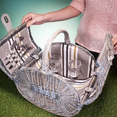 Oval Two Person Willow Picnic Basket