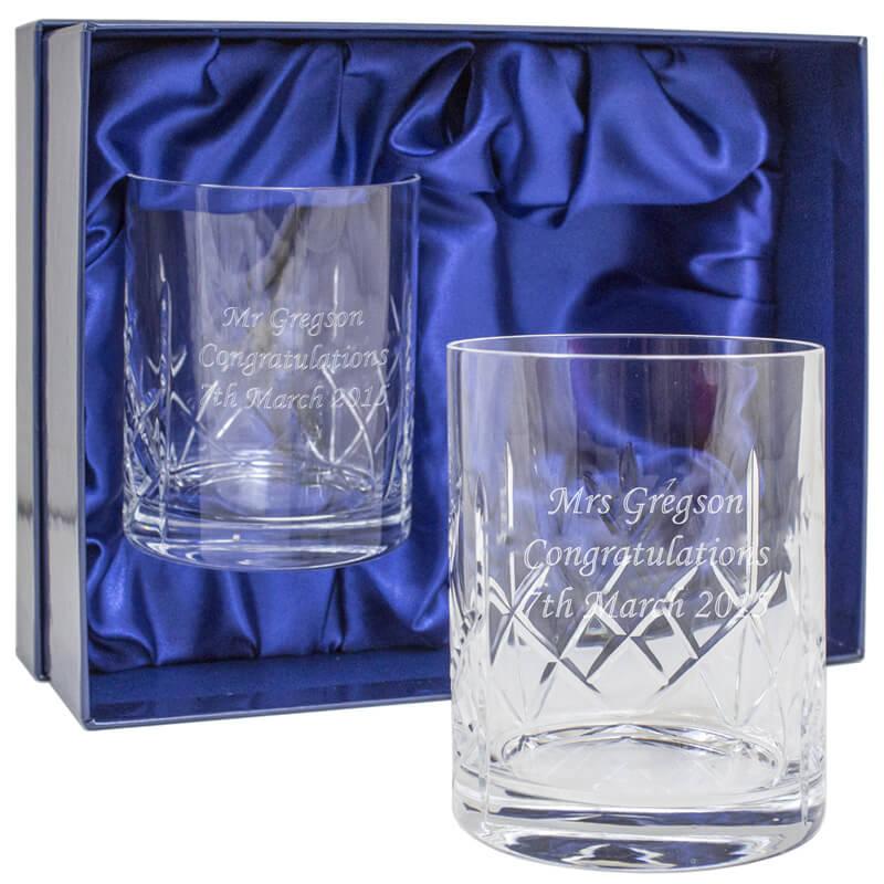 Personalised Pair of Cut Crystal Whisky Tumblers