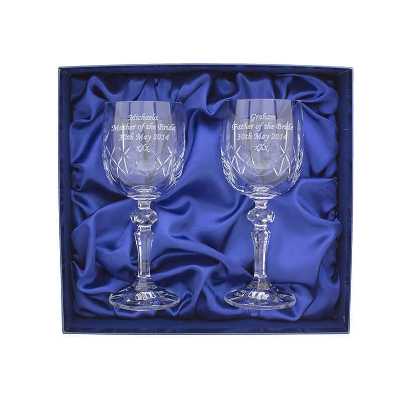 Personalised Pair of Cut Crystal Wine Glasses