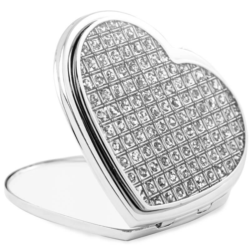 Personalised Diamante Heart Compact Mirror