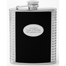 Personalised Black Leather Hip Flask