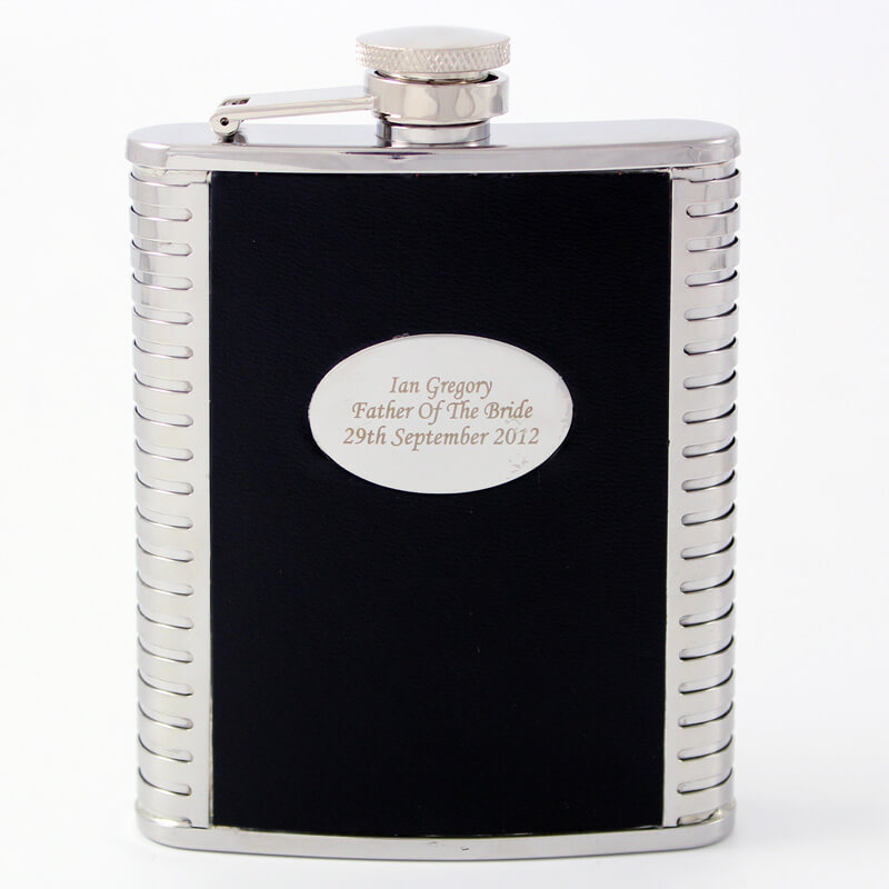 Personalised Black Leather Hip Flask