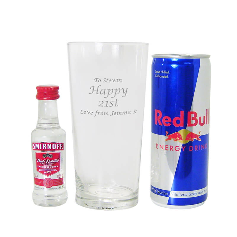 Personalised Vodka & Red Bull Gift Set - 21st gift