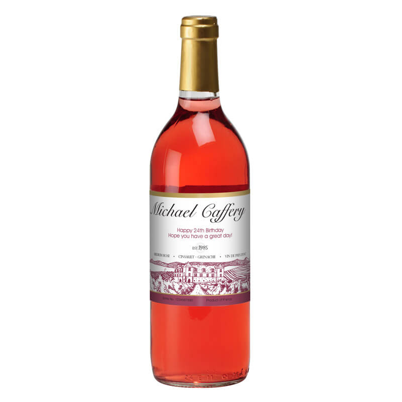Personalised Bottle of Rose Wine - 21st gift